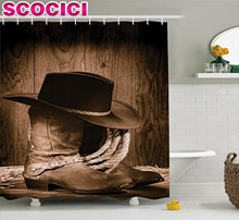 Western Decor Shower Curtain Wild West Themed Cowboy Hat and Old Ranching Rope On Wooden Display Rodeo Style Fabric Bathroom Dec