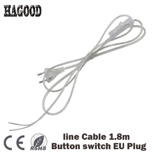 1.8m On Off Power Cord For LED Lamp with Button switch EU/US Plug Light Switching Transparent Wire Extension 0,75mm2 line Cable