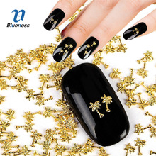 Metal Tree Design Charms 3D Nail Art Decorations Gold Silver 2 Colors Glitter Copper Plant Studs Supplies For Nails PJ565 PJ566(China)