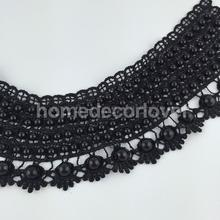 Black Crochet Flower Lace Collar Applique Neckline Sewing Trim Craft