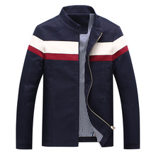 New Brand Fashion Men's Casual Long Sleeved Jacket Stand Collar Zipper Mixed Colors Pattern Man's Jackets Cotton Popular Clothes