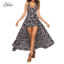 Buy 2018 Sexy Beachwear Boho Overall Rompers Jumpsuit Print Backless Halter Lace V-neck Sleeveless Summer Playsuit Maxi Jumpsuits