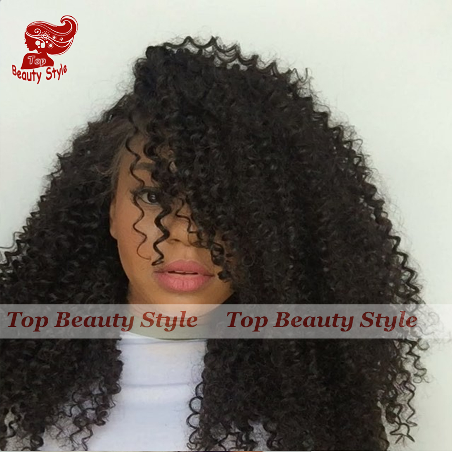 180 Density Afro Kinky Curly Wigs Heat Resistant Glueless Little Curl Synthetic Lace Front Wig With Bangs Fiber Hair Wig<br><br>Aliexpress