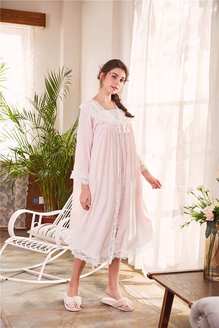 2018 New 2 Piece Robe Set Lace Chemise Full Slips with Victorian Robe Retro Palace Robe Gown Set GT046 8