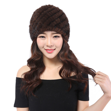 YWMQFUR mink fur hat for women genuine natural fur Pineapple cap Russian beanies hat fashion good quality thick warm fur hats(China)