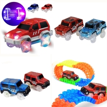 Electronics LED light up Cars for Glow Race Tracks Car Toys With Flashing Car for Kid Luminous Machines DIY Track Car brinquedos(China)