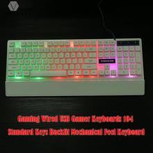 104 Key Wired USB Gaming Keyboard with LED Backlight White Computer Teclado Gamer with Wrist Support for Laptop Notebook PC(China)