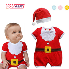 New 2017 Baby Boys Christmas Clothing Sets Romper Cap Short Sleeve 2 Piece Suits Kids New Born Infant Clothes Children's Wear(China)