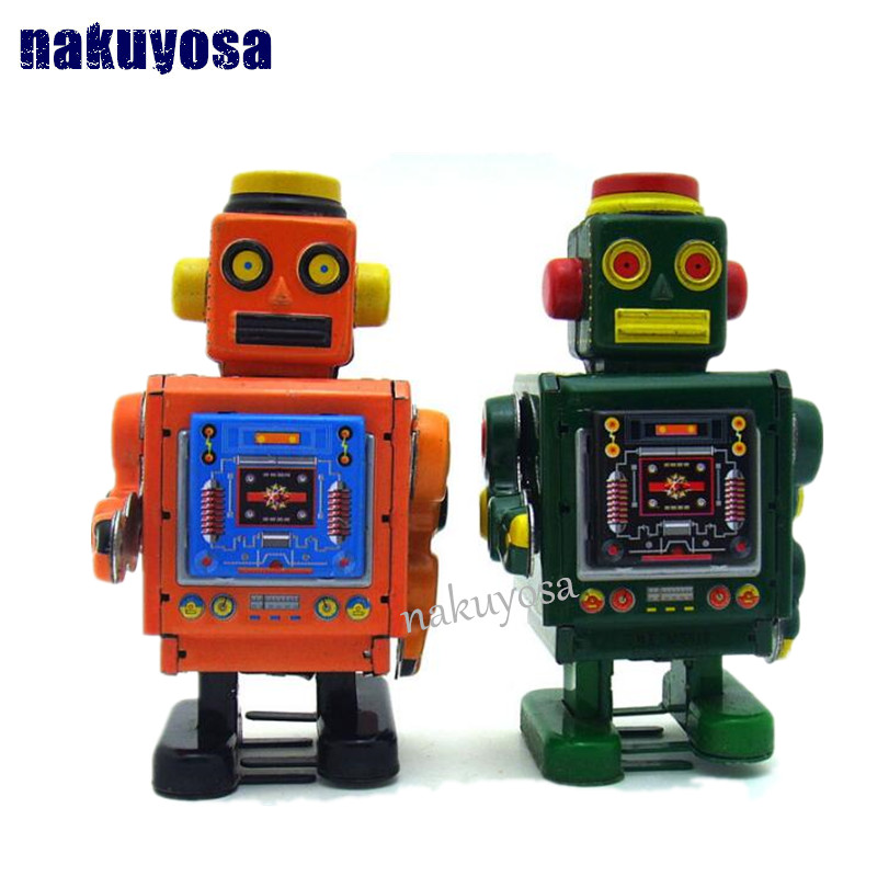 Green color Mechanical Engineers Clockwork  Tin toys robot Retro Handmade Wind Up Toys Showcase Decoration Craft<br><br>Aliexpress