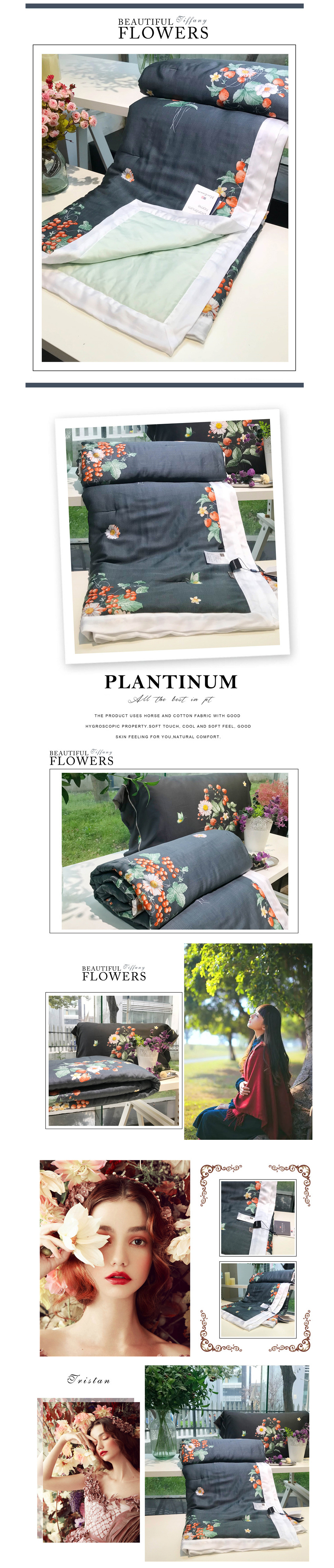 2018 summer comforter bedding set queen size 60s exquisite tencel cotton quilt lyocell fiber bed quilted pastoral flower printing process quilts 10
