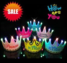 Birthday Cap Happy Glowing 5 lamp Crown Cap King Princess crown headdress Birthday party dress up Christmas carnival EMS Free