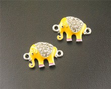 10 pcs Silver plated Metal Color Yellow Enamel Crystal Elephant Charms Connector jewellery Accessories RS671