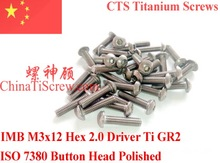 Titanium screw M3X12 ISO 7380 Button Head   Hex 2.0 Driver Polished