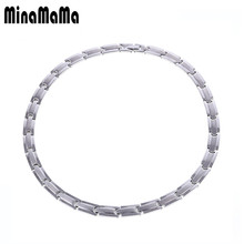 New Silver Color Bio Balance Medical Stainless Steel Germanium Choker For Women Healthy Chain Colar Necklaces Men Jewelry(China)