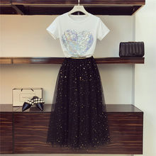 High Quality 2019 Summer Women Star Sequined Heart Pattern Sequins + Long Mesh Skirt Suit Tulle Pleated Skirt Set(China)