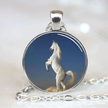 (1 piece/lot) White Arabian Stallion Horse Jewelry Necklace Pendant