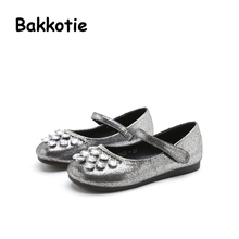 Bakkotie 2017 Autumn Retro Baby Girl Flat Shoe Black Kid Brand Leisure Mary Jane Shoe Crystal Soft Silver Breathable Rhinestones