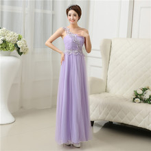 Fashion long maxi dresses for weddings lavender appliques tulle lace party elegant dresses for teens