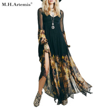 M.H.Artemis Black Boho Chic On fire Print chiffon dress Women Retro Vintage Vestidos Bohemian Hippie Dress Robe Vestidos Mujer