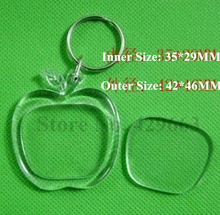 Free shipping 3pcs/lot Apple Shaped Transparent Blank Insert Photo Picture Frame Key Ring Split keychain