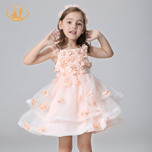 Nimble Vestidos Girls Dress Shoulderless Handmade Appliques Satin Organza Girl Clothes for Party Wedding
