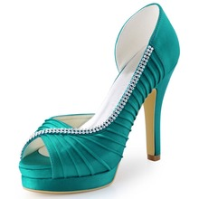 EP11064-IPF Teal Blue Women Shoes Bride Peep Toe Cone High Heels Satin Pleated Rhinestones D'Orsay Wedding Bridal Party Shoes
