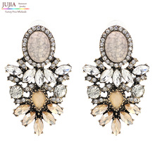 JUJIA trendy fashion jewelry Wholesale good quality big crystal earrings 2017 New statement fashion stud Earrings for women