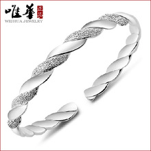 Factory wholesale fashion silver jewelry wholesale site Taobao silver plating silver bracelet supply intertwined love bracelet(China)