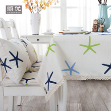 Gray table cover simplicity tablecloth embroidery natural fabric Starfish rectangle lace beige linen cotton ocean white