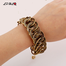 LZHLQ Metal Pattern Vintage Bracelets Splice Round Maxi Twist Bracelet Women Cuff Bangle Fashion Plated Hand Accessories Jewelry