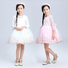 Teenage Girls Clothes White Pink Tutu Dress Long Sleeve Easter Dresses For Girls 10 Years Lace Toddler Kids Princess Dresses(China)