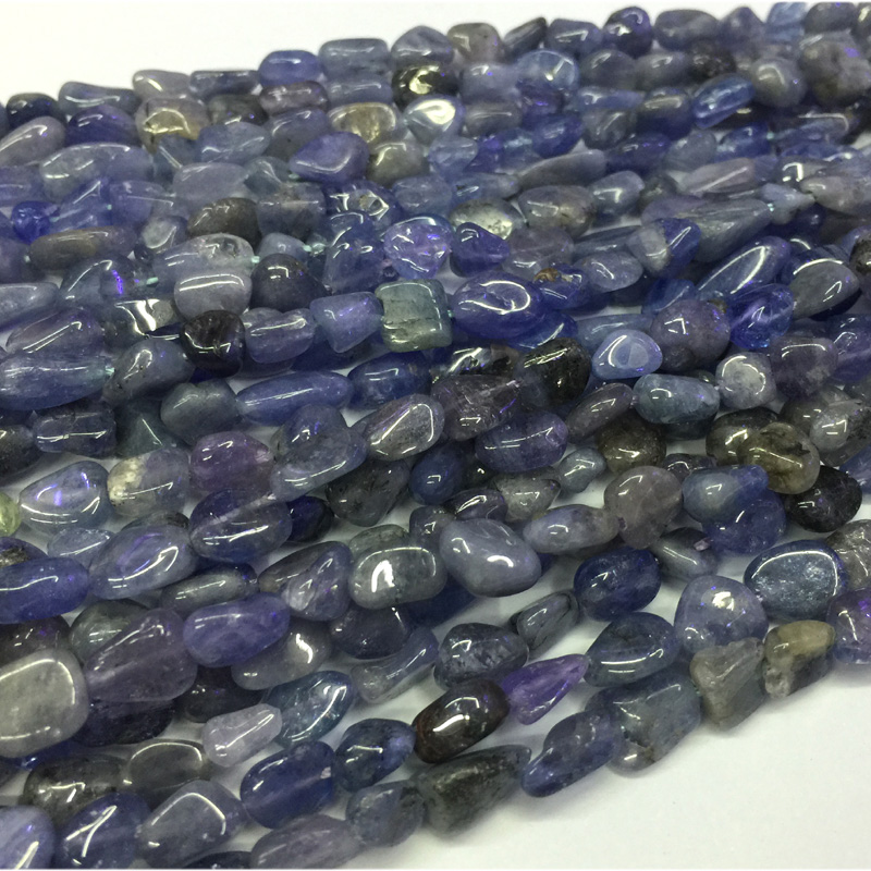 Fine Jewelry Tanzania Natural Genuine Raw Mineral Dark Blue Tanzanite Nugget Free Form Smooth Beads 05483 100% High Quality Materials