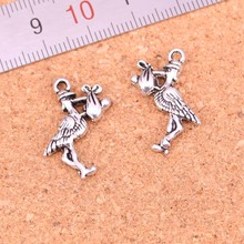 20pcs Tibetan Silver Plated bird eat fish Charms Pendants for Necklace Bracelet Jewelry Making DIY Handmade 23*18mm