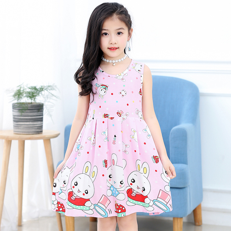 18 New Casual Dress Summer Style Sleeveless Cartoon printed pure cotton for Girls Dress 3-10 Years Children Clothing 8