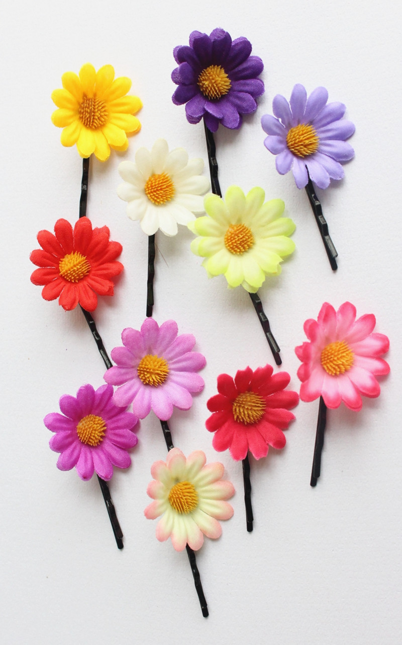 2PC Boho Style Baby Kids Girls Flower Print Bow BB Hair Clip Cotton Hairpins CA