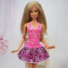 (Combine shipping) New 2014 Evening Party Dress Bowknot Printed Lovely Princess Short Skirt Outfit Clothes For Kurhn Barbie Doll