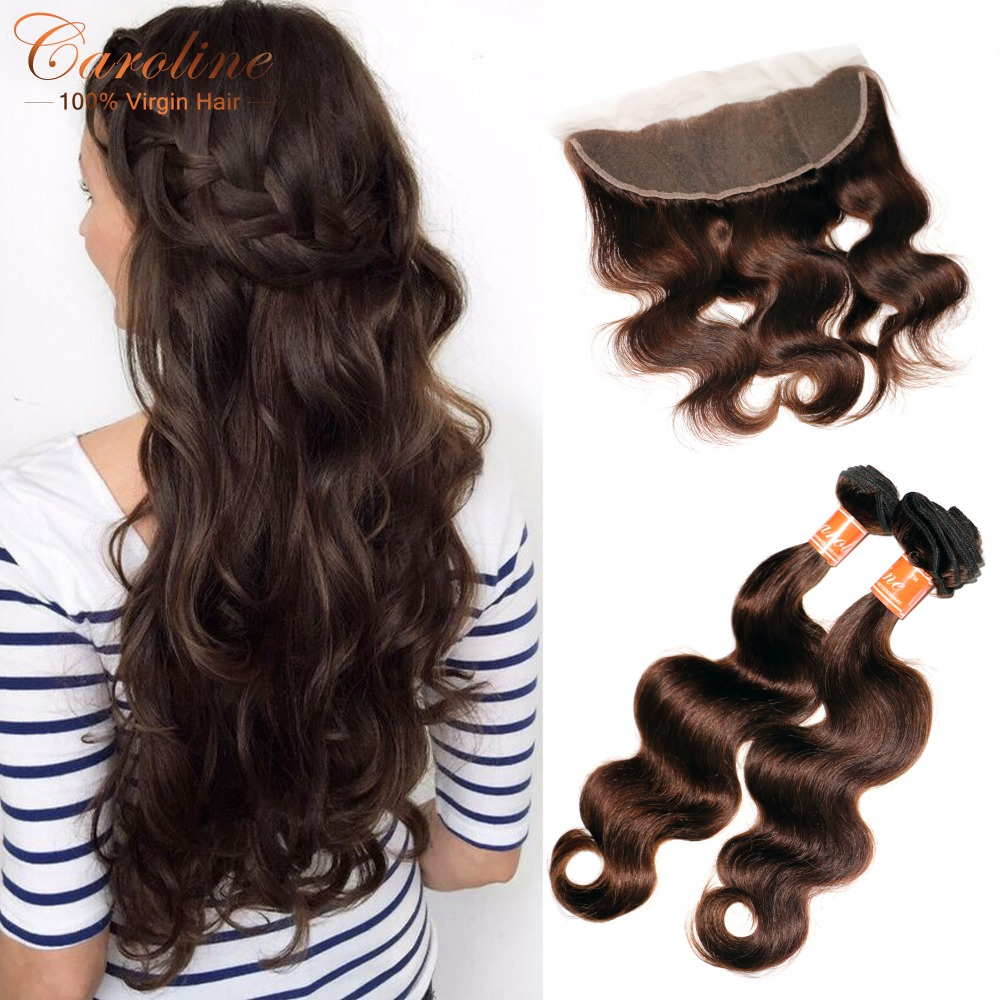 8A Grade Peruvian Body Wave Virgin Hair Pre Plucked Frontal With Bundles Brown Color Peruvian Virgin Hair Bundles With Frontal<br><br>Aliexpress