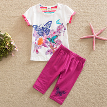 Flags 2016 new baby girl suit set bab girl clothes fashion cotton round collar short sleeve T-shirt girl tutu trousers TZ618