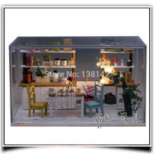 G005 Hongda DIY dream kitchen miniature dollhouse voice led lights wooden doll house handmade model toys free shipping
