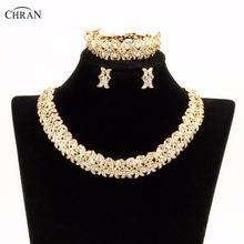 Chran New Faux Pearl Necklace Earring Bracelet African Costume Jewelry Sets Gold Color Rhinestone Crystal Wedding Bridal Gift(China)