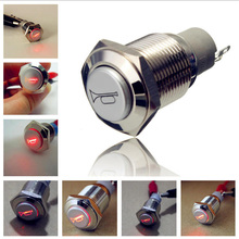 Mayitr 1pcs 16mm Car Red LED Momentary Push Button 12V 3A Replace Horn Metal Switch Auto Boat Speakers Bells Horn