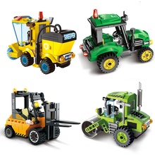 ENLIGHTEN 5 Style City Construction Road Roller Tractor Sweeper Truck Building Block Kids Toy Compatible lepin Major Brand Block(China)