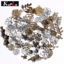 Kupla Vintage Metal Mixed Tree Charms Fashion Retro Mixed Leaf Pendant Diy Handmade Charms for Jewelry Making 100pcs/lot