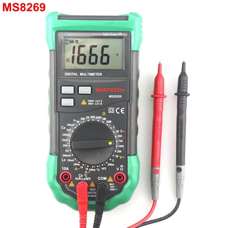 MasTech MS8269 Digital Multimeter AC DC Volt Amp Ohm Cap Multi Tester 20mH~20H Inductance Meter -20~1000C Thermometer<br>