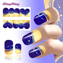 2PCS 2017 New Year Nail Art Decoration Christmas Nail Sticker Women Water Decals Elegant Designs Full Nail Wraps Decal