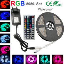 smd 5050 RGB Led Strip 30Led/M Waterproof  led strip Light flexible DC12V led Tape RGB diode ribbon with Remote Adapter 5M Kit