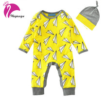 Unisex Paper Airplane Romper Sets Spring Newborn Kids Cotton Long Sleeve Jumpsuits+Hat Clothes Baby Infant Printing Climb Suits