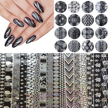 16pcs 20cm*4cm Halloween Style Nail Art Snowflake Nail Transfer Foil Sticker Decal Adhesive Nail Tips Decorations Accessories