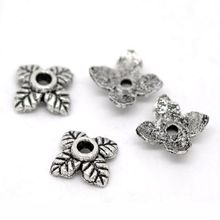 350PCs Silver Tone 4Petal Leaves Beads End Caps 6*6mm DIY Jewelry Findings Vintage Charm Flower Bead Caps For Jewelry Making(China)