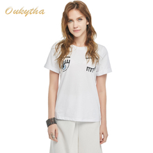 Oukytha New Fashion Summer shirt 2017 Casual Cotton Female Slim Tops & Tees Printing Pattern White Women T Shirt Hot T16055